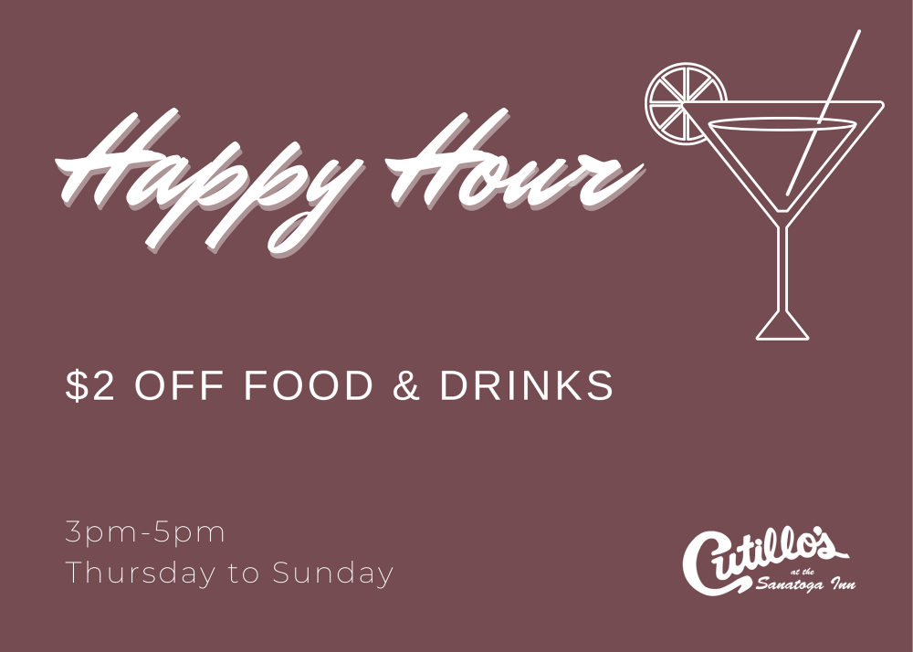 Happy Hour  3:00pm - 5:00pm Daily!